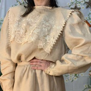 Vintage tan linen lace bib sailor collar skirt set